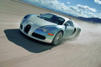 Bugatti Veyron 16.4 front side view speeding