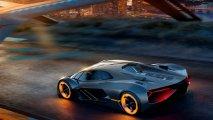 Lamborghini Terzo Millennio rear side view illuminated
