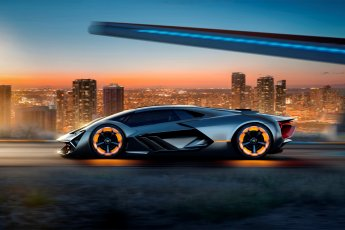 Lamborghini Terzo Millennio side view illuminated