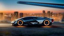 Lamborghini Terzo Millennio side view illuminated