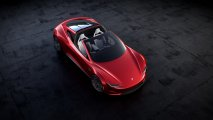 Tesla Roadster top view open roof