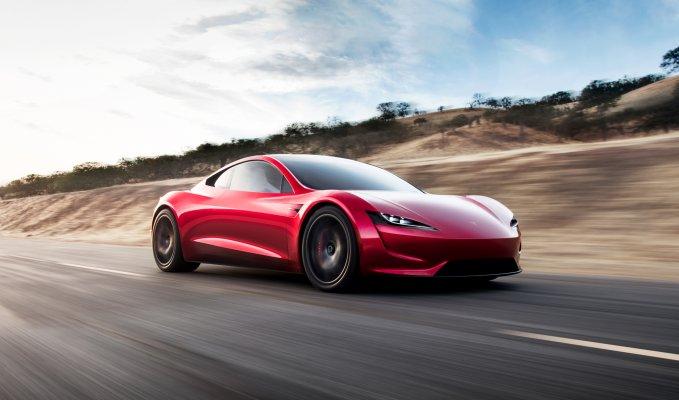 Tesla Roadster front side view